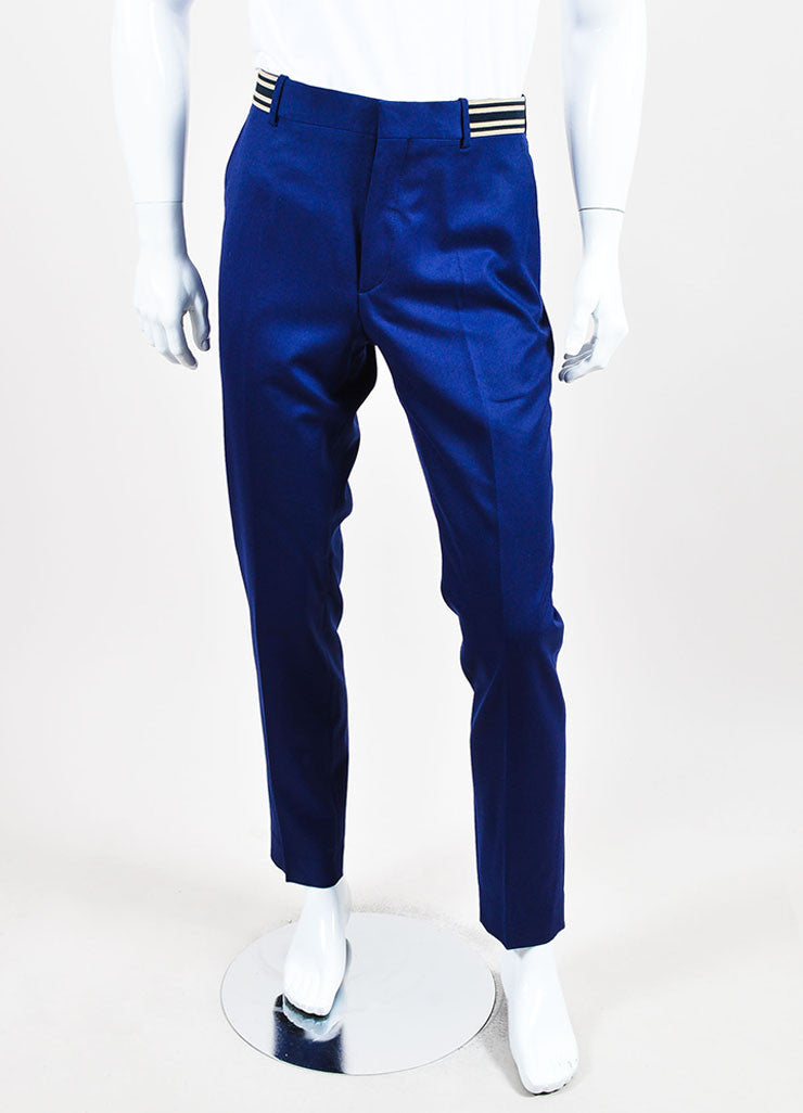 MEN'S Blue Alexander McQueen Striped Pants Front