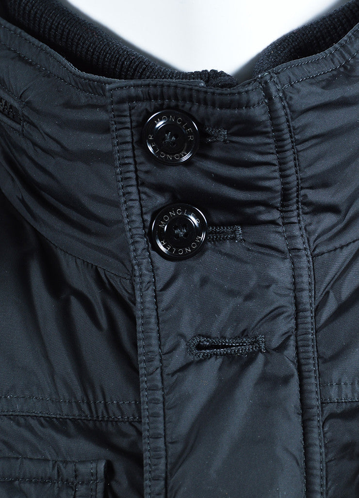 Men's Moncler Black Down Winter Coat Detail