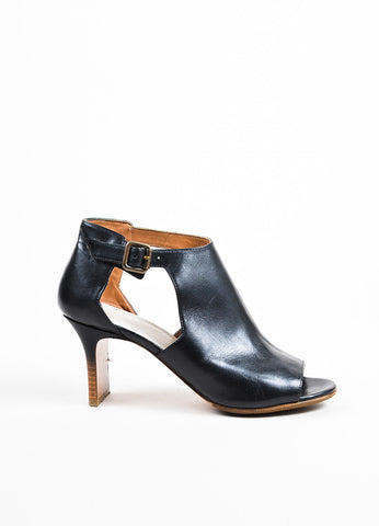 Maison Martin Margiela Black Leather Peep Toe Cut Out Ankle Boots Sideview