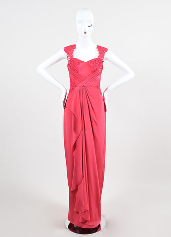 Marchesa Notte Coral Silk Illusion Lace Pleat Sweetheart Sleeveless Gown Frontview