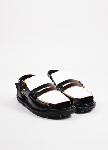 "Marni Black, White, and Gold Toned Leather Penny Loafer ""Fussbett"" Sandals Frontview"