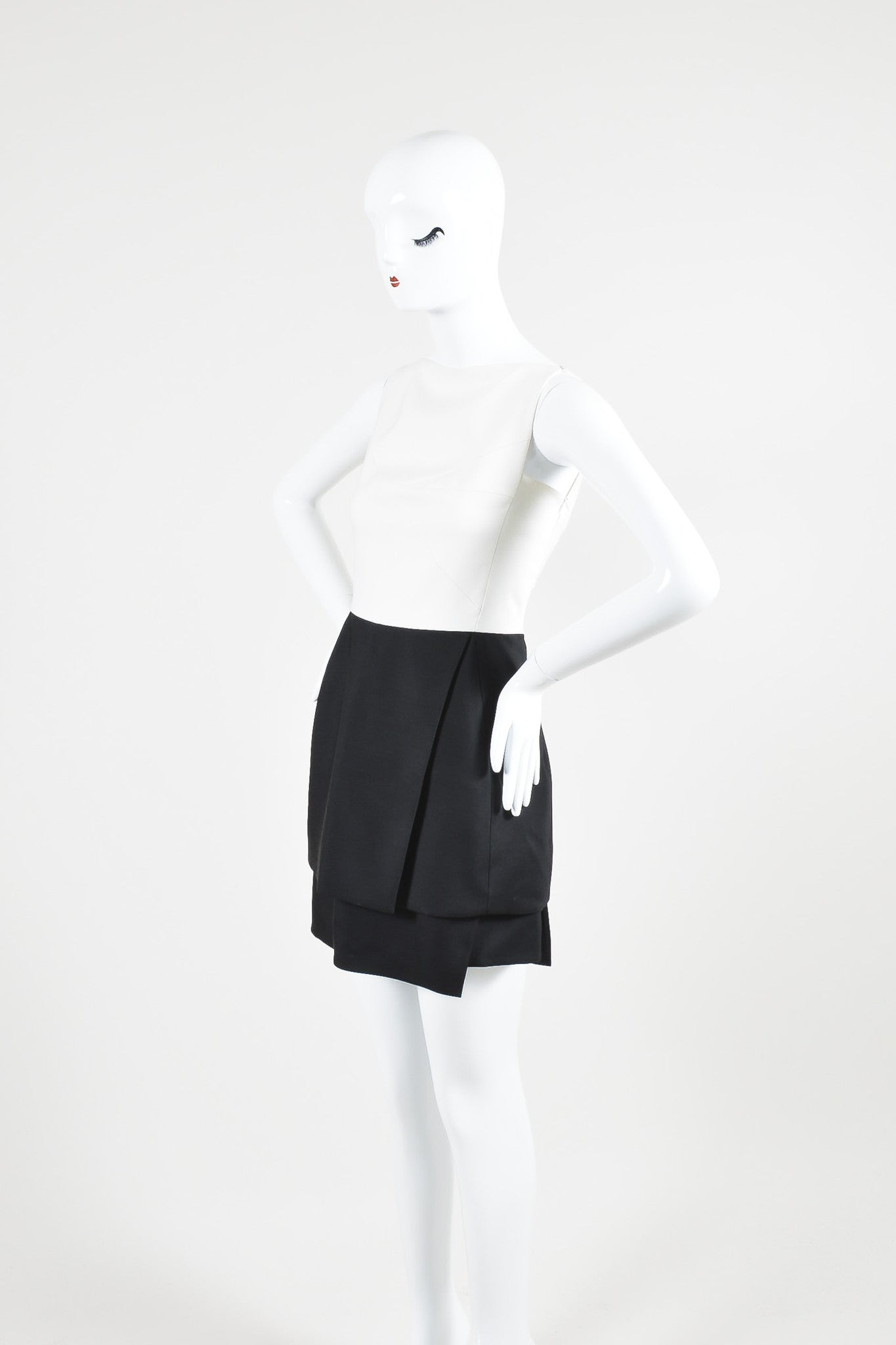 Narciso Rodriquez Black and White Wool and Silk Color Block Layered Dress Sideview