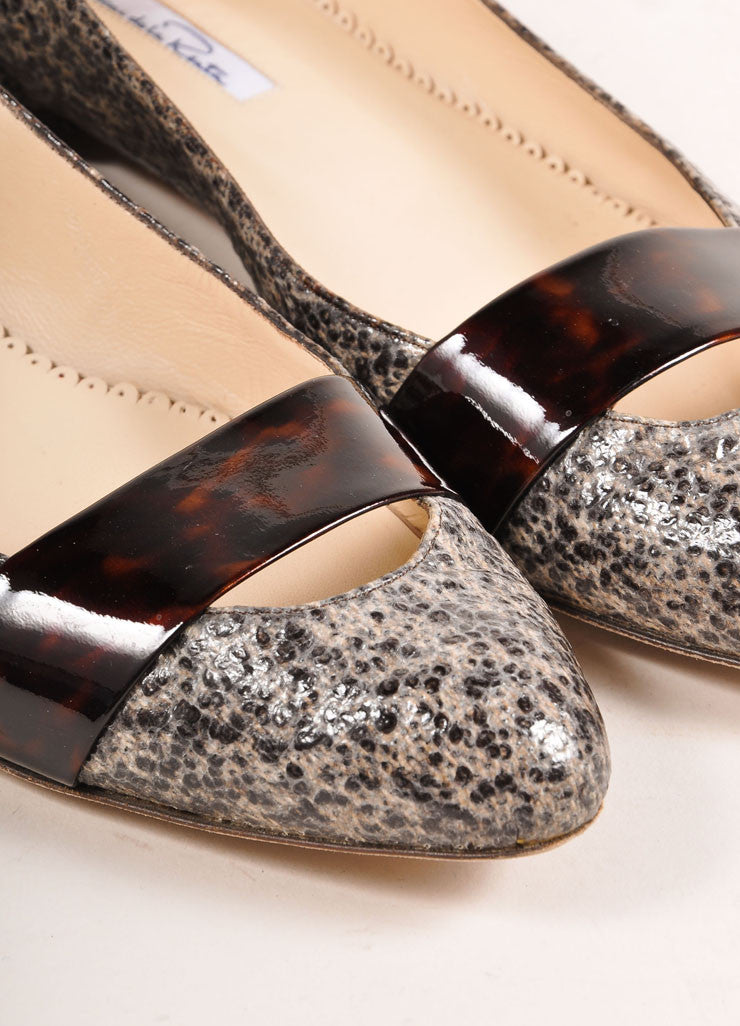 Oscar de la Renta Black and Beige Patent Tweed Tortoise Trim Ballerina Flats Detail