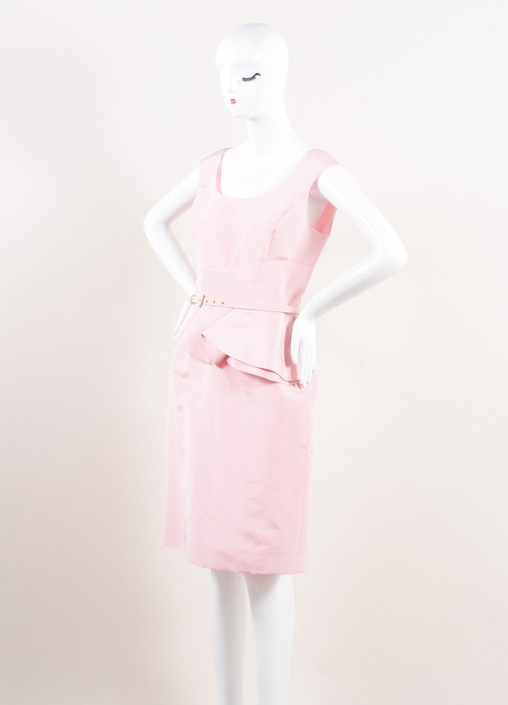 Oscar de la Renta New With Tags Pink Silk Faille Ruffle Waist Sleeveless Sheath Dress Sideview