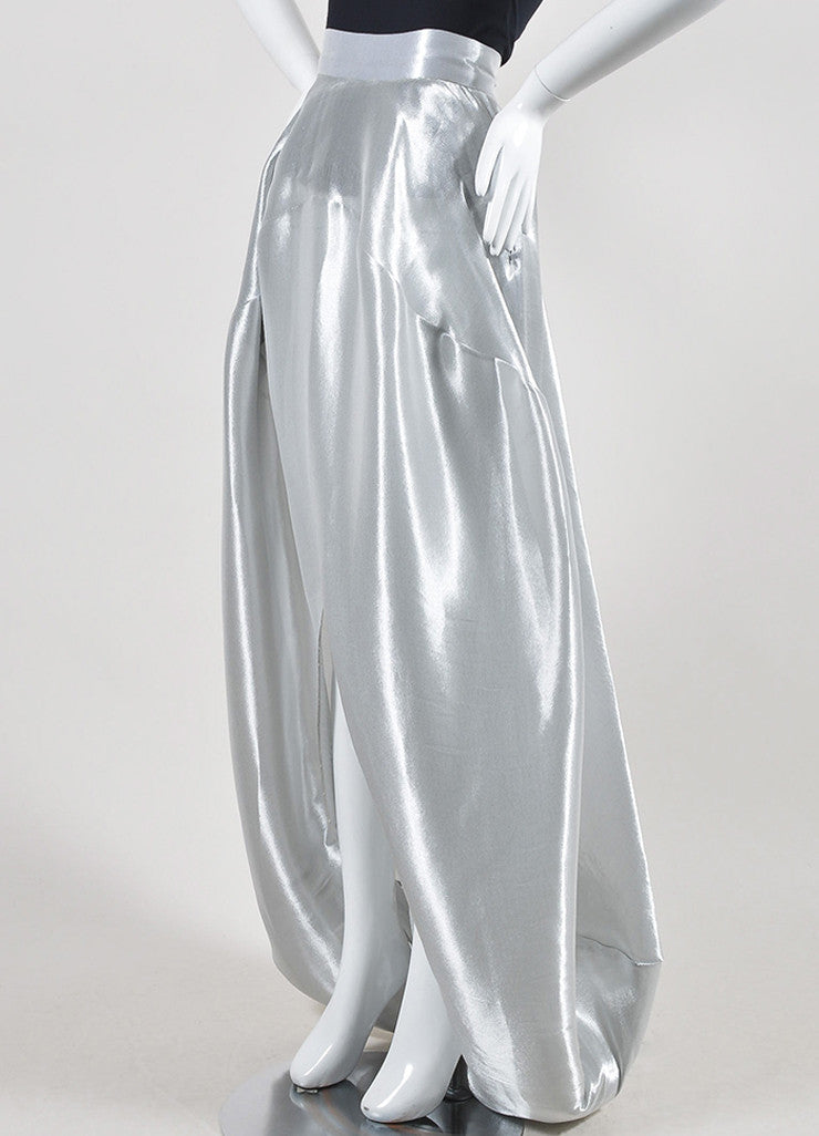 Metallic Silver 	Oscar de la Renta Lame Bubble Train Maxi Skirt Sideview