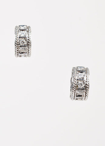 Penny Preville 18K White Gold and Diamond Huggie Hoop Earrings frontview
