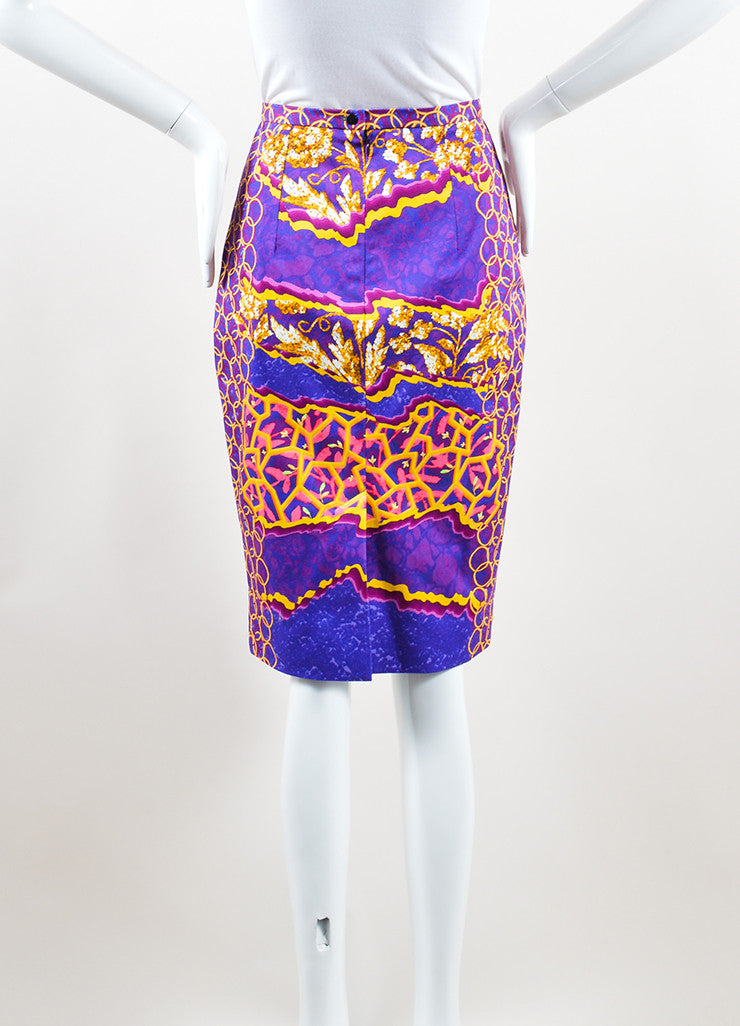Peter Pilotto Multicolor Cotton Psychedelic Print Pencil Skirt Backview
