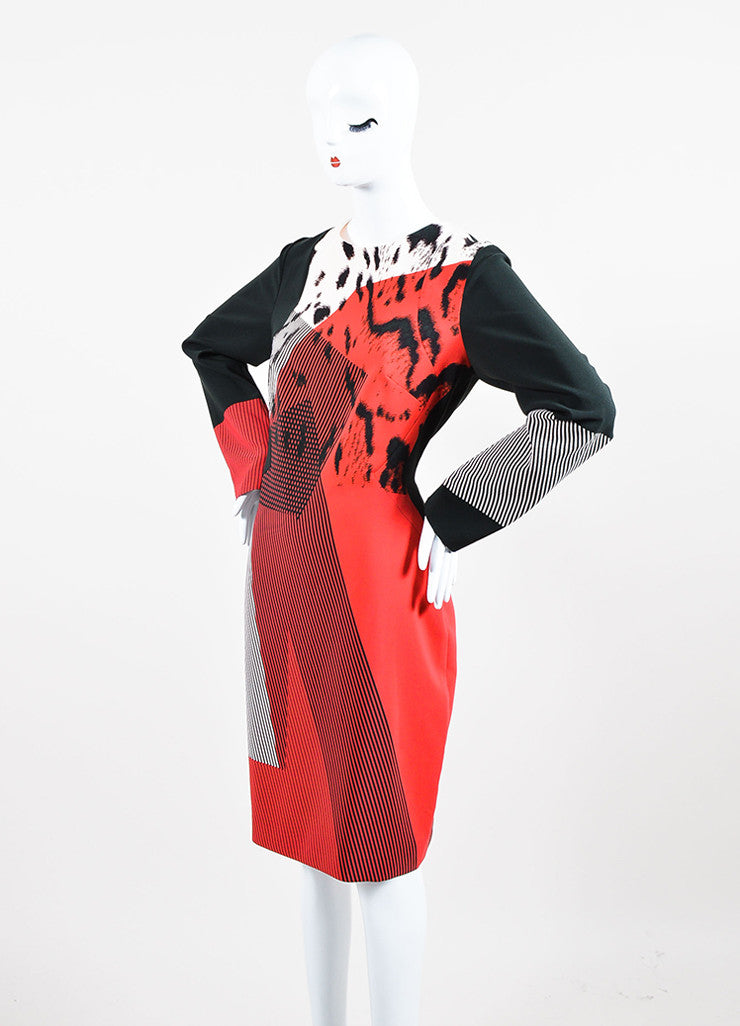 Red, Black, and Blush Prabal Gurung Printed Long Sleeve Shift Dress Sideview