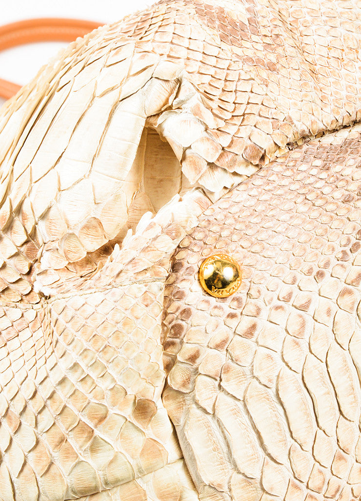 Cream and Taupe Prada Python Leather Shopping Tote Bag Detail