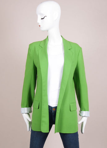 Reed Krakoff New With Tags Green Wool Crepe Long Blazer Jacket Frontview