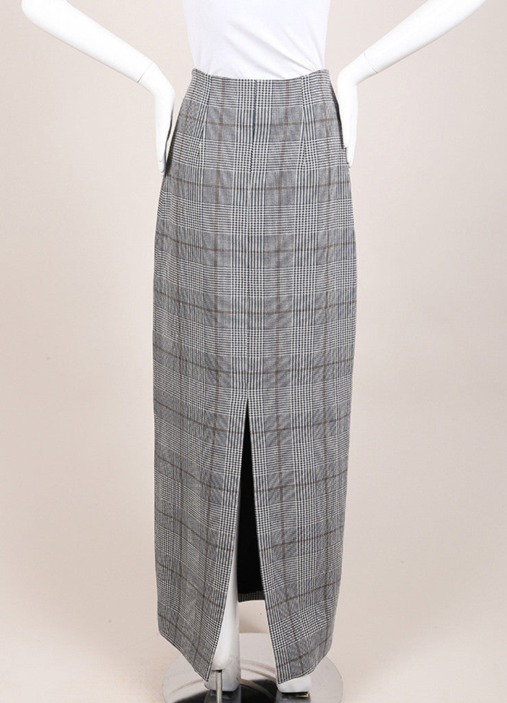 "Rosie Assoulin New With Tags Navy Wool Houndstooth ""Prince of Wales"" Maxi Skirt Backview"