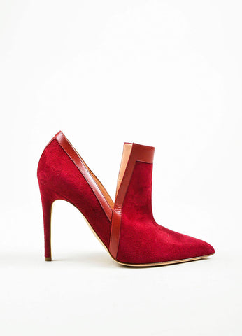"Red Rupert Sanderson Suede Point Toe ""Rima"" Heeled Booties Sideview"