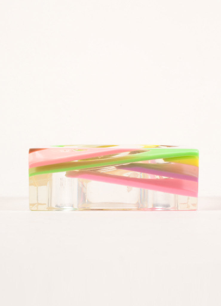 Sobral Multicolor Pastel Resin Square Bangle Bracelet Sideview