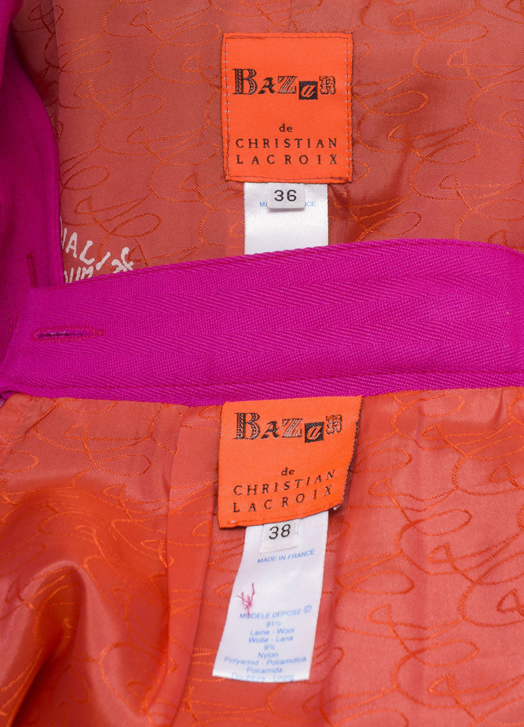 Bazar by Christian Lacroix Hot Pink Wool Jacket and Skirt Suit Brand