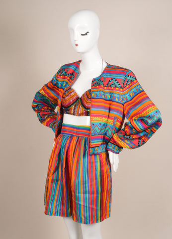 Bob Mackie Multicolor Printed Three Piece Silk Set Sideview