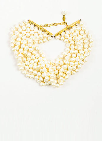 Chanel Faux Pearl Multi Strand Choker Necklace Frontview