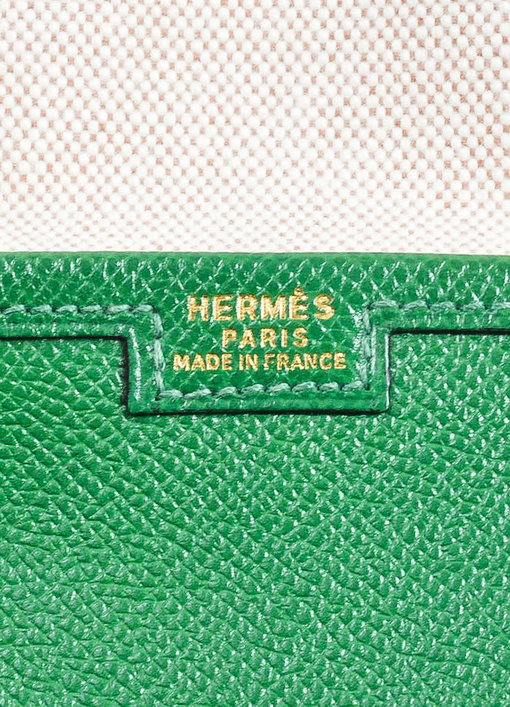 "Green Hermes Pebbled Leather ""Jige"" 'H' Envelope Clutch Bag Brand"