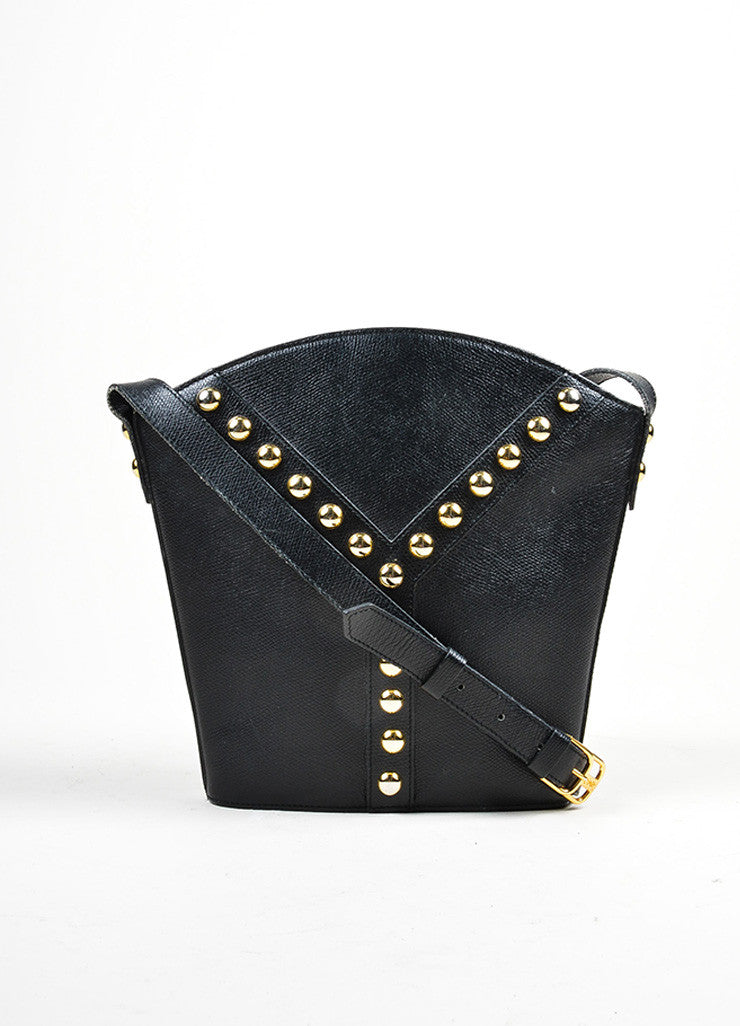 "Black Yves Saint Laurent Leather Studded ""Y"" Crossbody Bag Frontview"
