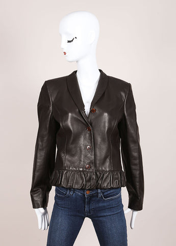 Valentino Brown Bottom Ruffle Leather Jacket Frontview