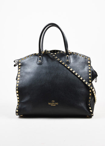 "Valentino Garavani Black and Gold Toned Leather Cross Body ""Rockstud"" Dome Satchel Bag Frontview"