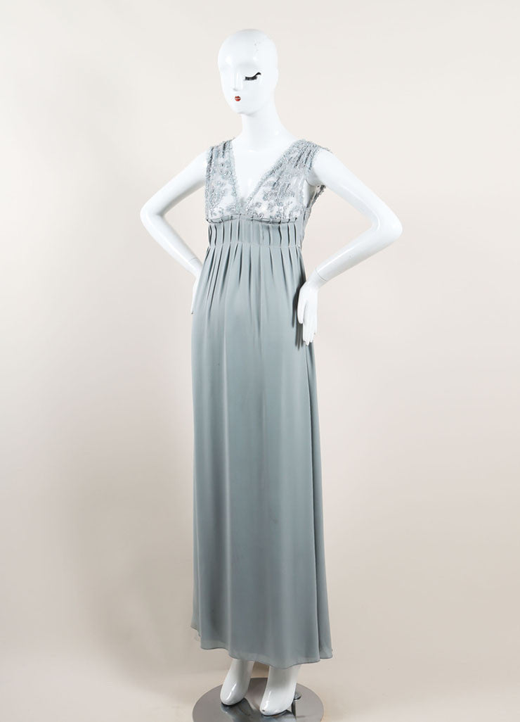 Valentino Mint Blue Silky Sheer Lace Sequin Embellished Sleeveless Gown Sideview