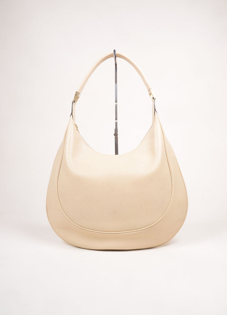 Valextra Beige Grain Leather Hobo Shoulder Bag Frontview