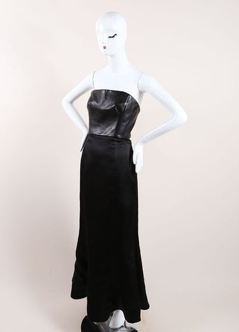 Vera Wang Black Leather and Taffeta Strapless Gown Side