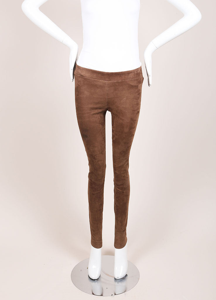 Vince Brown Paneled Suede Leather Leggings Frontview