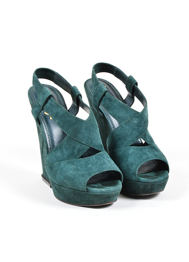 yves laurent green suede slingback wedge sandals