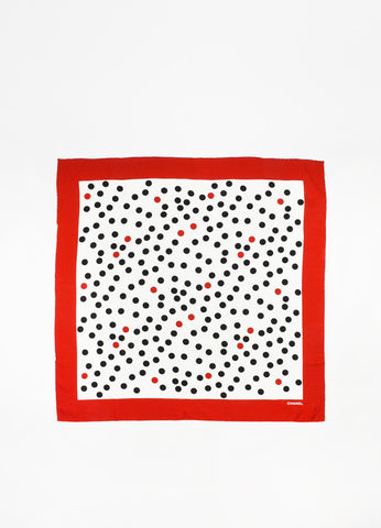 Cream, Red and Black Chanel Polka Dot Square Scarf Front 2