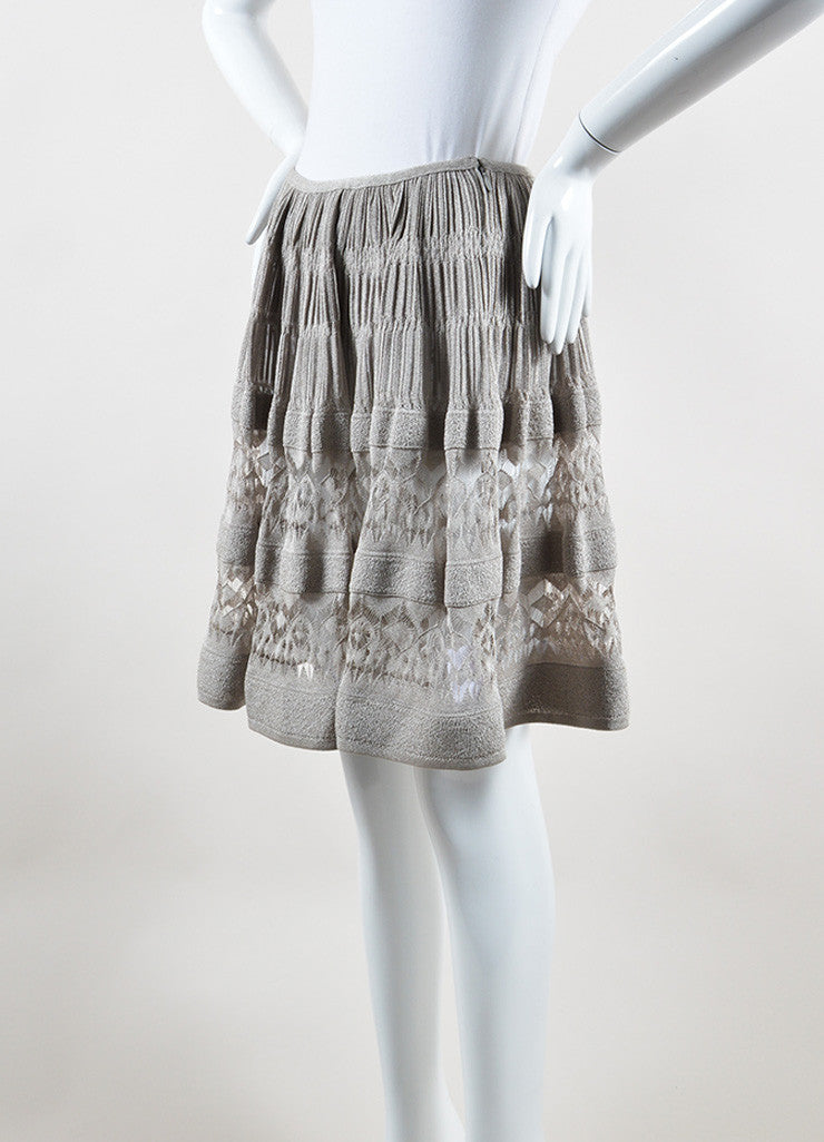 Alaia Silver Metallic Crochet Semi Sheer Ruched A-Line Skirt Sideview