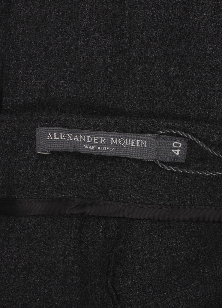 Alexander McQueen New With Tags Dark Grey Melange Crepe Wool Ankle Trousers Brand