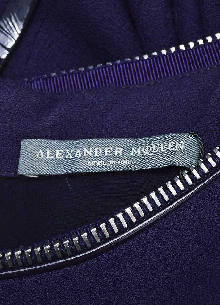 Purple Alexander McQueen Wool Zipper Cap Sleeve Dress Brand