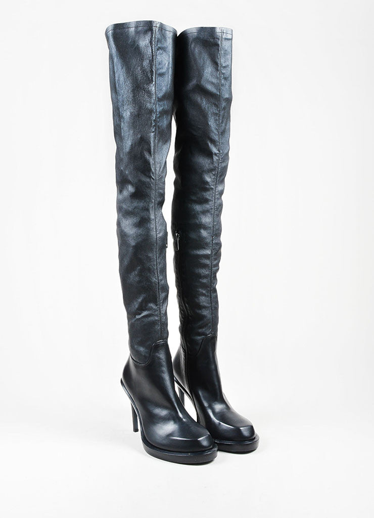 "Black Leather Ann Demeulemeester ""Glove"" Thigh High Heel Boots Frontview"