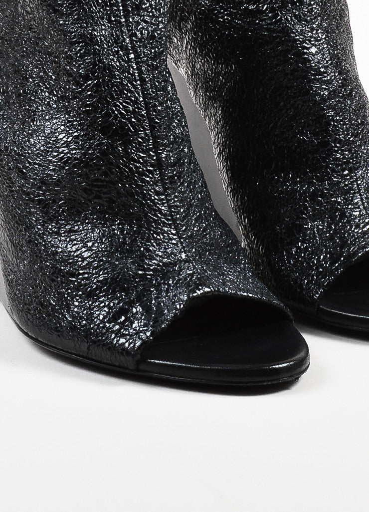 Balenciaga Black Crinkled Patent Leather Open Toe Wedges Detail