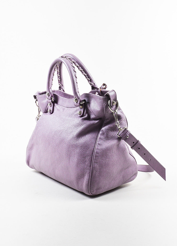 "Balenciaga Lilac Purple Leather ""Giant 12 Velo"" Crossbody Bag Sideview"