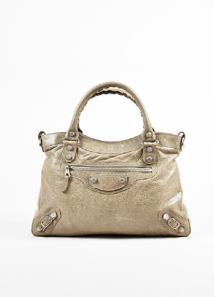 "Balenciaga Taupe Grey Leather Silver Toned Studded ""Giant 12 Town"" Bag Frontview"