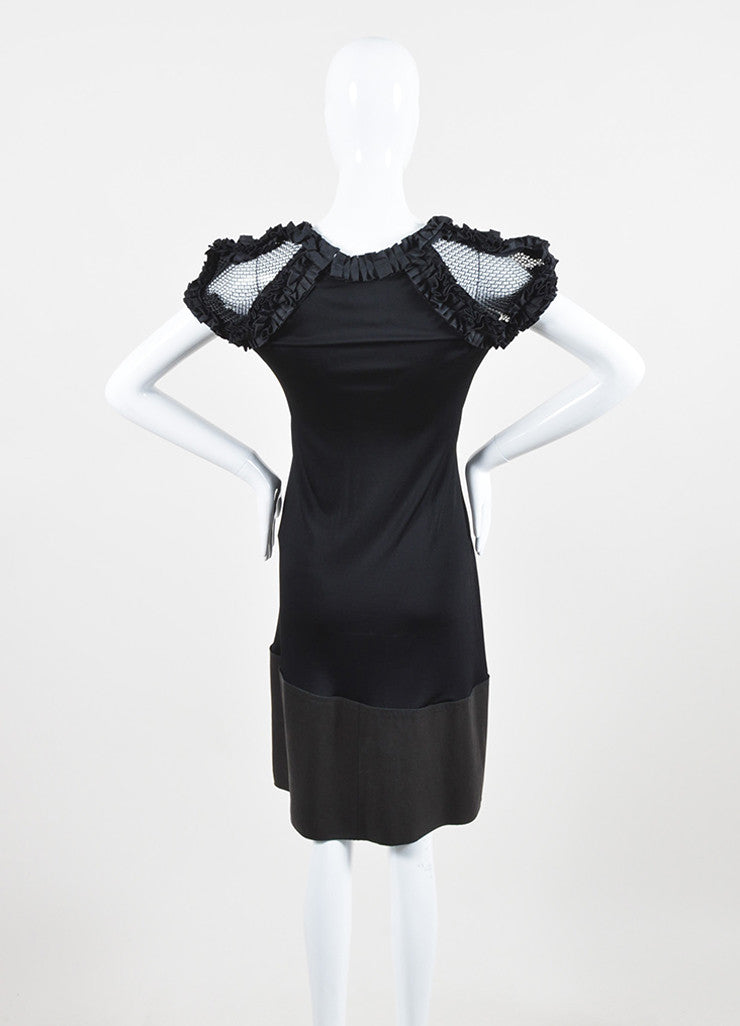 Bottega Veneta Black Silky Ruffle Mesh Chain Mail Leather Short Sleeve Dress backview
