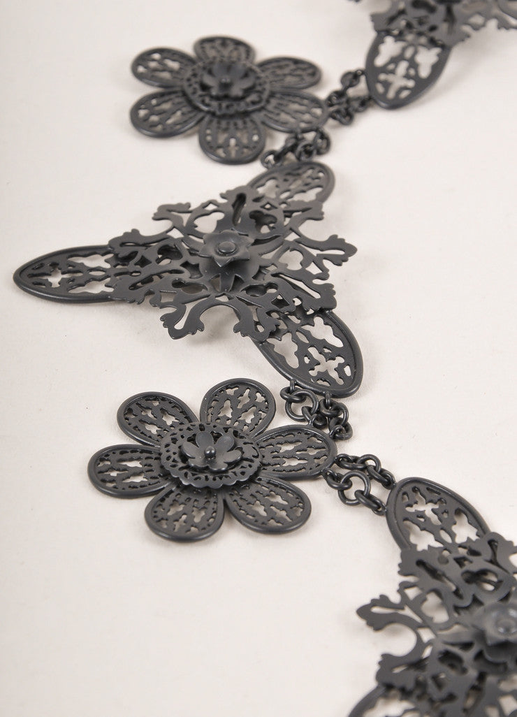 Bottega Veneta Black Matte Metal Filigree Statement Necklace Detail 2