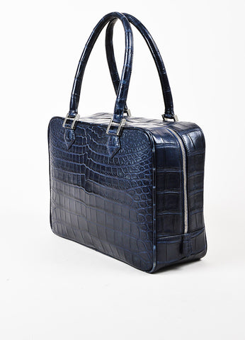 Brioni Navy Crocodile Leather Top Handle Structured Briefcase Bag Sideview