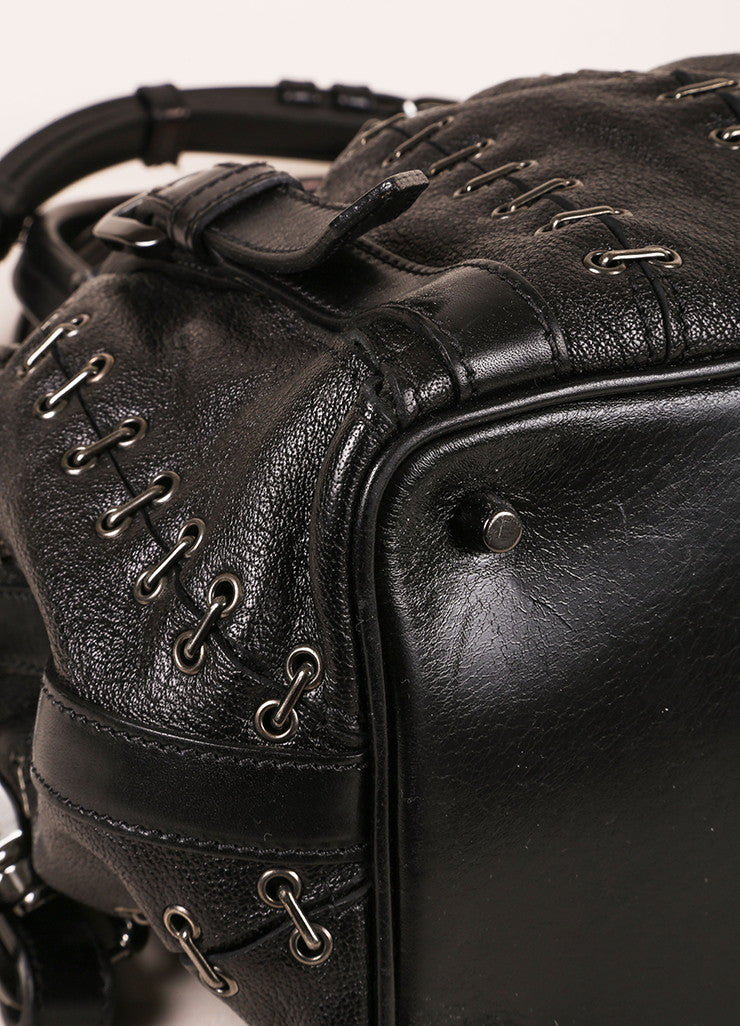 Burberry Black Grain Leather Grommet Staple Link Handbag Detail