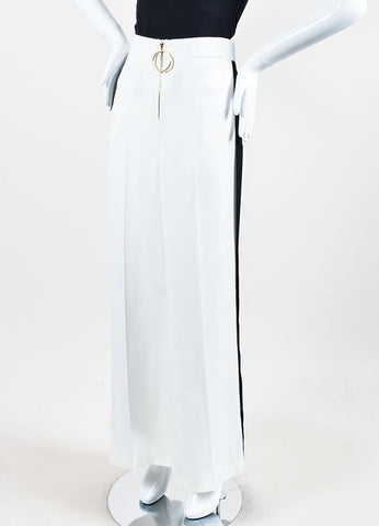 Celine White and Black Stripe Detail Wide Leg Pants Sideview