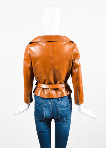 Celine Brown Pebbled Lamb Leather Silver Toned Belted Biker Jacket Backview