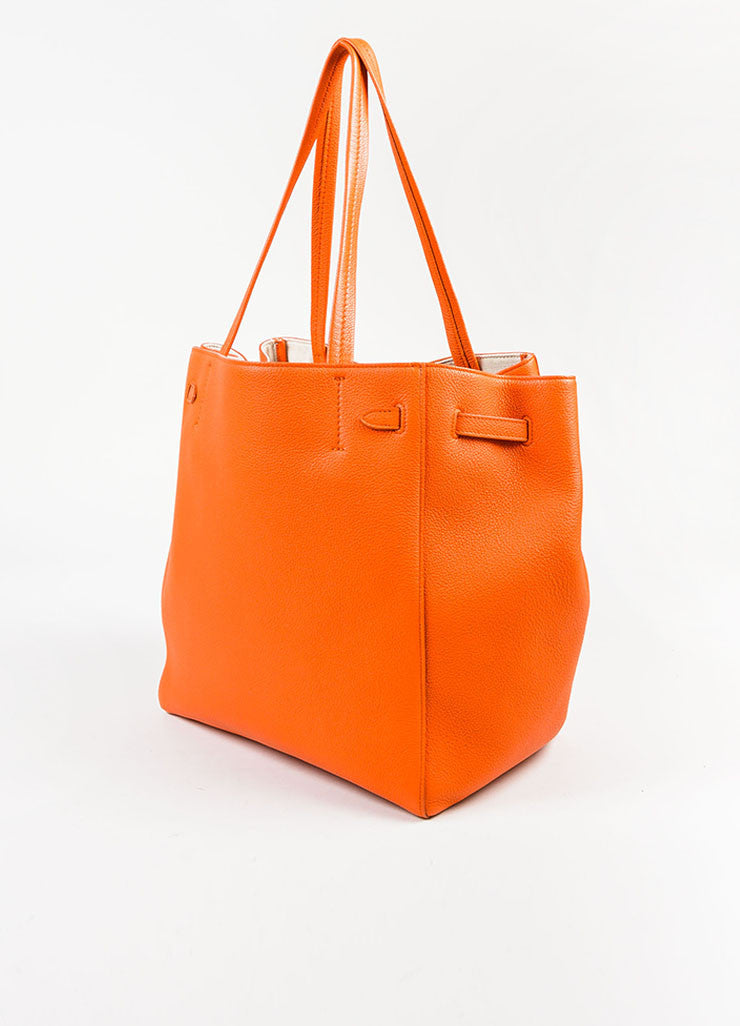 "Celine Orange Pebbled Leather Small ""Phantom Cabas"" Tie Tote Bag Sideview"