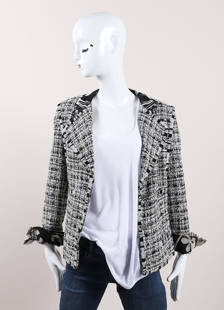 "Chanel Black and White Cotton, Silk, and Wool Tweed ""CC"" Button Jacket Frontview"