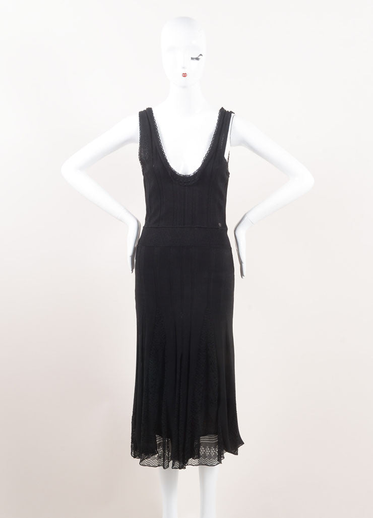Chanel Black Textured Ribbed Knit Eyelet Pleated Sleeveless Dress Frontview