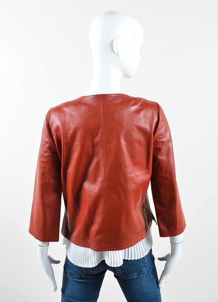Chanel Dark Red Leather Button Up Crop Sleeve Blazer Backview