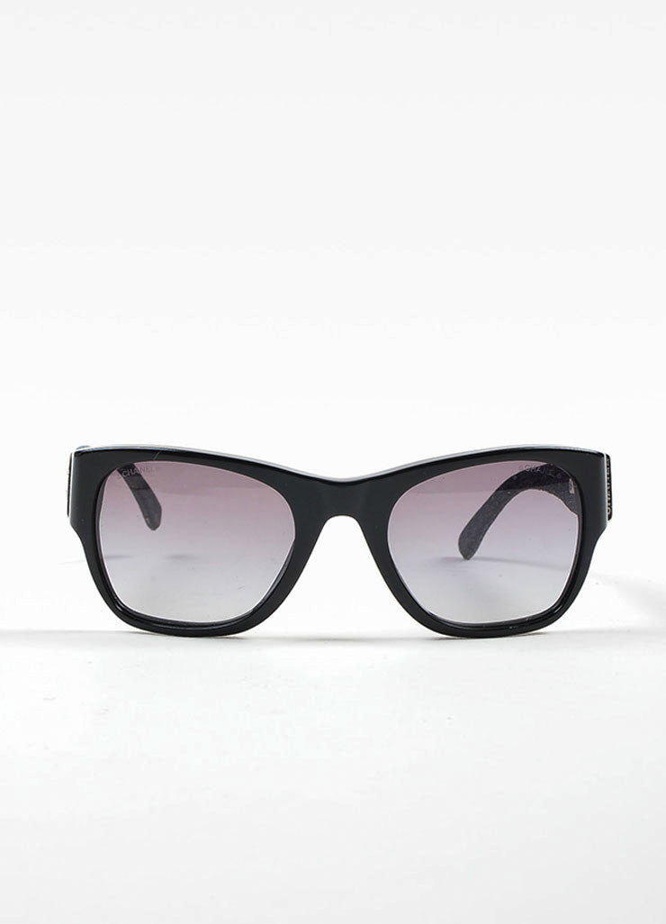 Black and Denim Chanel Silver Toned 'CC' Wayfarer Sunglasses Frontview