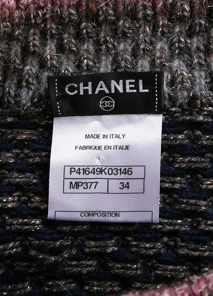 Chanel Multicolor Cotton, Wool, and Silk Metallic Knit Sweater Dress Brand