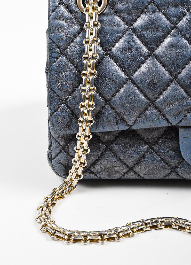 Dark Grey Chanel Leather Metallic Quilted Chain Reissue Accordion Flap Bag Detail 2